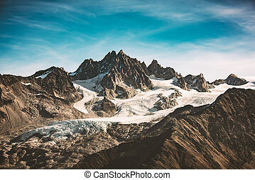 Incredible view of mountain peak in French Alps