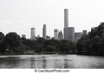 Incredible view of New York city skyline from Central park.