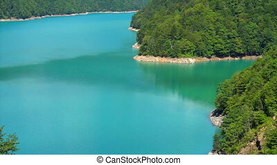 Incredibly beautiful blue lake in the mountains.