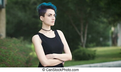 incredibly beautiful fashion girl with unusual hairstyle....