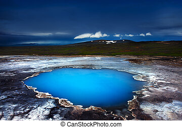Hveravellir - Incredibly blue pool Blahver at Hveravellir is...