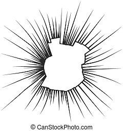 incrinature, illustrazione, rotto, vettore, vetro., radiale, bianco