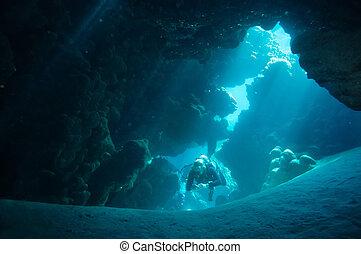 incrinature, mare, corallo, fori, fessure, scogliera,...