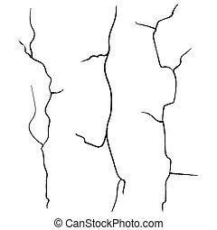 incrinature, parete, isolato, fondo., set, vector., bianco