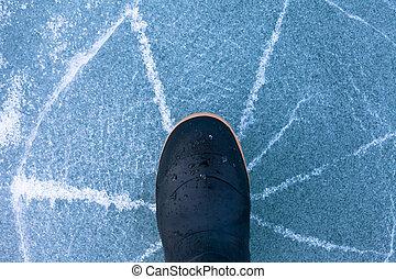 incrinature, pericolo, stivale, radially, ghiaccio, gomma, magro, sotto