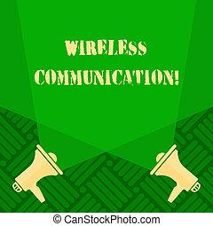 incrociare, foto, comunicare, doppio, testo, esposizione, vuoto, communication., due, floor., segno, fili, riflettore, congegni, fra, concettuale, usando, megafoni, segnale, verso l'alto