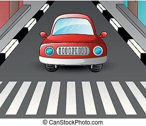 incrocio, automobile, fermato, zebra, rosso