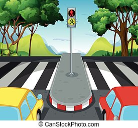 incrocio, automobili, scena, strada, zebra