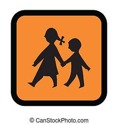 incrocio, bambini, segno