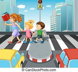 incrocio, bambini, zebra, strada