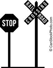 incrocio, ferrovia, autostrada, segni