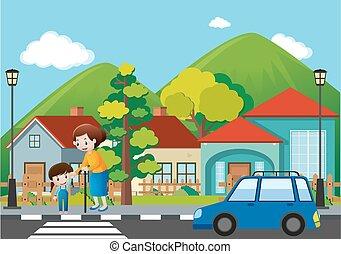 incrocio, vicinato, scena, strada, persone