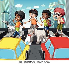 incrocio, zebra, strada, bambini