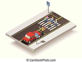 incrocio, zebra, strada, composizione