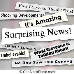 incroyable, surprenant, déchiré, déchiré, nouvelles, gros titres, choquant