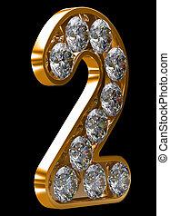 incrusted, doré, 2, chiffre, diamants
