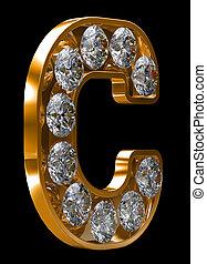 incrusted, doré, c, lettre, diamants