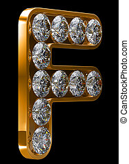 incrusted, doré, diamants, lettre f
