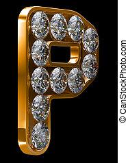 incrusted, doré, diamants, lettre p