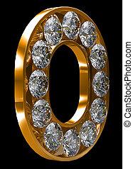incrusted, doré, lettre, o, diamants