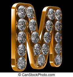 incrusted, doré, m, lettre, diamants