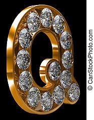 incrusted, doré, q, lettre, diamants