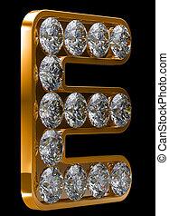 incrusted, dorado, e, carta, diamantes