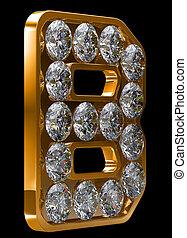 incrusted, dorato, b, lettera, diamanti