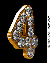incrusted, dourado, 4, numeral, diamantes