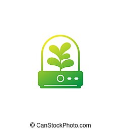 incubator with plant icon on white, eps 10 file, easy to edit