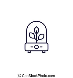 incubator with plant line icon, eps 10 file, easy to edit