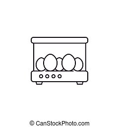 incubator with the eggs, line icon, eps 10 file, easy to edit