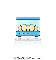 incubator with the eggs, vector outlined icon, eps 10 file, easy to edit