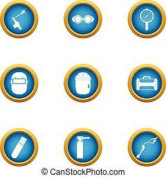 Incus icons set, flat style - Incus icons set. Flat set of 9...