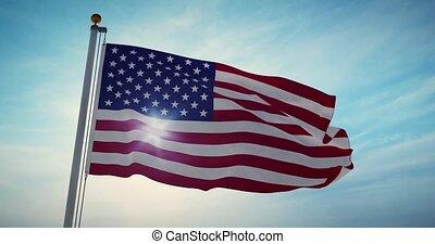 indépendance, -, 30fps, spectacles, drapeau, 4k, onduler, états américains, uni, vidéo, amérique