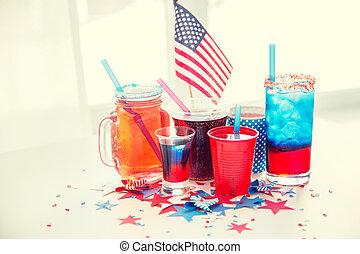 indépendance, américain, jour, boissons, fête