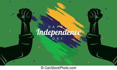 indépendance, brésil, célébration, fort, jour, drapeau, ...