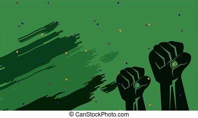 indépendance, brésil, célébration, fort, jour, mains