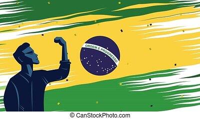 indépendance, homme, brésil, célébration, jour, fort
