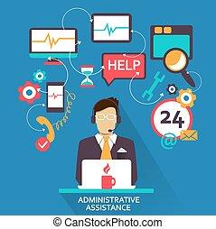 indépendant, administratif, assistance