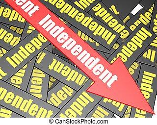 indépendant, barre, flèche