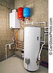 indépendant, chauffage, boiler-room, système