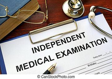 indépendant, examen médical