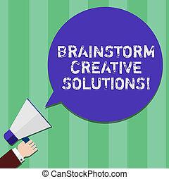 indépendant, intensif, projection, porte voix, groupe, business, bubble., colorez photo, discussion, solutions., analyse, écriture, note, showcasing, parole, tenant main, hu, créatif, idée génie