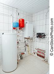 indépendant, salle, moderne, système, chauffage, chaudière