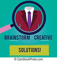 indépendant, solutions., projection, groupe, business, idée génie, photo, discussion, showcasing, below., créatif, intensif, verre, étiquette, étiquette, main, smoking, conceptuel, agrandir, écriture, magnifier