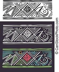 indígena, étnico, naturaleza, símbolos