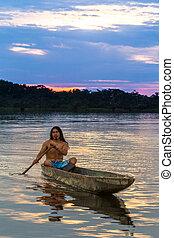 indígena, cuyabeno, ecuador, gente