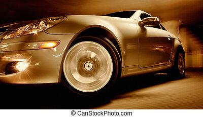 indítvány, autó, elhomályosít, gyorsan, sport