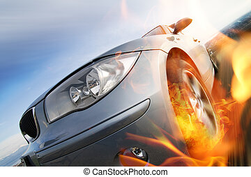 indítvány, autó, mozgató, gyorsan, elhomályosít
